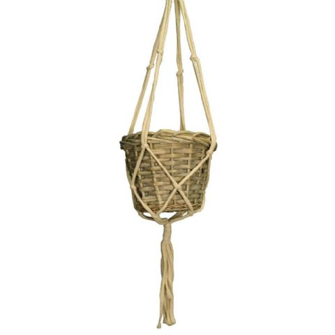Hanging Macrame Wicker Plant Basket